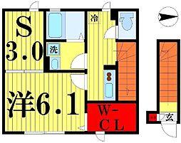 東京都足立区本木北町の賃貸アパートの間取り