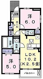 JR青梅線 小作駅 バス12分 四谷橋下車 徒歩3分の賃貸アパート 1階2LDKの間取り