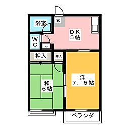エトワールA[1階]の間取り