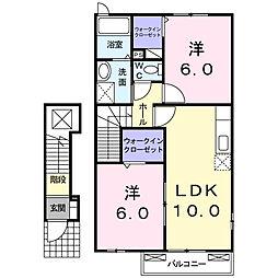 JR東海道本線 島田駅 バス47分 鹿島下車 徒歩4分の賃貸アパート 2階2LDKの間取り