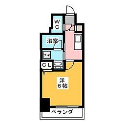ディアレイシャス新栄 6階1Kの間取り