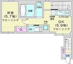 仙台市営南北線 愛宕橋駅 徒歩7分の賃貸アパート 2階1DKの間取り