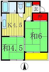 ハイツ・ヒラノ[2階]の間取り