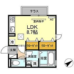 愛知県西尾市道光寺町西縄の賃貸アパートの間取り