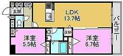 ECRARGE三国ヶ丘[1階]の間取り