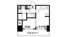 プレサンス兵庫駅前 8階1LDKの間取り