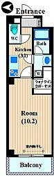 FIRST PLACE KOSUGI 3階1Kの間取り