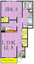 千葉県柏市松葉町2の賃貸アパートの間取り