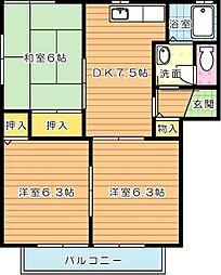 セゾン永犬丸 A棟[2階]の間取り