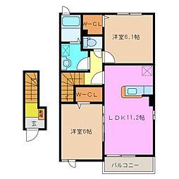 サニーハイツSEINAI I[2階]の間取り