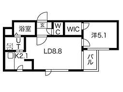ヘリテージN42 3階1LDKの間取り
