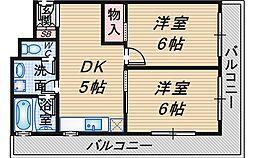 シャルム上野西[2階]の間取り