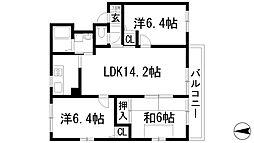 兵庫県川西市寺畑2丁目の賃貸アパートの間取り