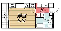 JR内房線 本千葉駅 徒歩11分の賃貸マンション 3階1Kの間取り