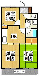 カトルズ中田II[1階]の間取り
