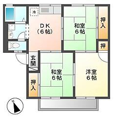コーポ一色山 (イシキヤマ)[1階]の間取り