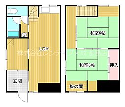 Osaka Metro谷町線 千林大宮駅 徒歩13分の賃貸タウンハウス 2LDKの間取り