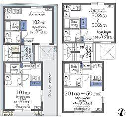 ラフォート菊川 2階ワンルームの間取り