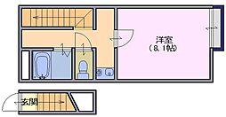 奈良県天理市東井戸堂町の賃貸アパートの間取り