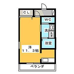 レジェンド横田 4階ワンルームの間取り