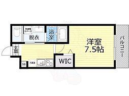 京阪本線 森小路駅 徒歩6分の賃貸マンション 2階1Kの間取り