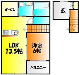 岡山県岡山市中区さい東町2丁目の賃貸アパートの間取り