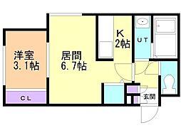 札幌市営東豊線 豊平公園駅 徒歩6分の賃貸マンション 2階1LDKの間取り