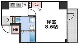 エグゼ西天満 3階1Kの間取り