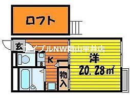 JR赤穂線 西大寺駅 徒歩34分の賃貸アパート 1階1Kの間取り
