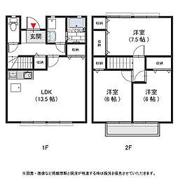 大阪府堺市東区日置荘北町1丁の賃貸アパートの間取り