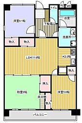ビューハイツ富士[2階]の間取り