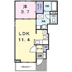 東京都立川市柏町4丁目の賃貸アパートの間取り