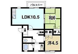 奈良県奈良市藤ノ木台2丁目の賃貸アパートの間取り
