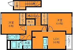 奈良県香芝市磯壁3丁目の賃貸アパートの間取り