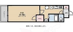 福岡市地下鉄空港線 大濠公園駅 徒歩7分の賃貸マンション 2階1Kの間取り