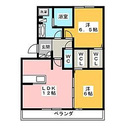 愛知県岡崎市堂前町1丁目の賃貸アパートの間取り