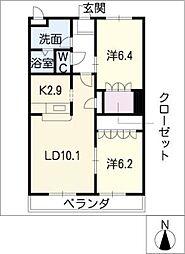 サンヴィレッジC[2階]の間取り