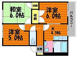 岡山県倉敷市玉島阿賀崎1丁目の賃貸アパートの間取り