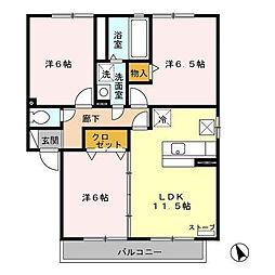 アバンサードB[1階]の間取り