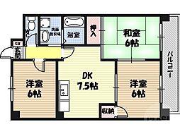 鶴見緑地ハイツ弐番館 6階3DKの間取り