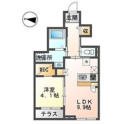 (仮)裾野市佐野アパート新築工事 1階1LDKの間取り