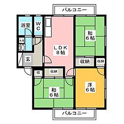 福岡県筑紫野市杉塚2丁目の賃貸アパートの間取り