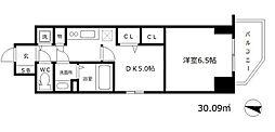 プレサンス江戸堀 2階1DKの間取り