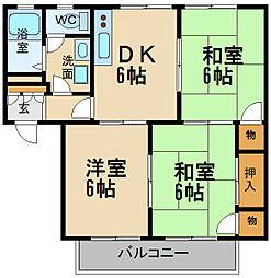 兵庫県伊丹市荻野3丁目の賃貸アパートの間取り