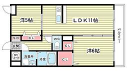 大阪府豊中市中桜塚5丁目の賃貸マンションの間取り