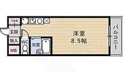 Adrable Mino 3階ワンルームの間取り