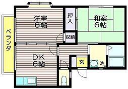東京都世田谷区北烏山6の賃貸アパートの間取り