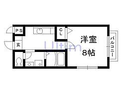 JR奈良線 稲荷駅 徒歩2分の賃貸アパート 2階1Kの間取り