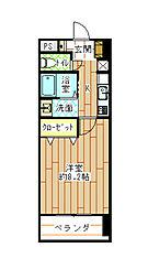 JR日豊本線 西小倉駅 徒歩5分の賃貸マンション 2階1Kの間取り