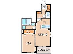 JR紀勢本線 宮前駅 徒歩5分の賃貸アパート 1階1LDKの間取り